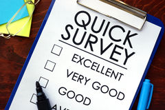 Quick Survey written in a notebook. Marketing concept Stock Image