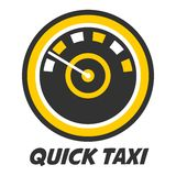Quick taxi emblem logo design with color speedometer icon isolated. On white. Automobile speedo with circles logotype. Vector illustration of speed taxicab for Stock Photos