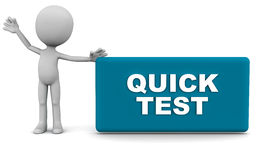 Quick test. Quick text word, concept of instant assessment and business tests, white background Stock Photography