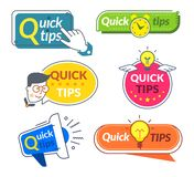Quick tip banners. Tips and tricks suggestion, quickly help advice solutions. Helpful info words labels. Quick tip banners. Tips and tricks suggestion, quickly royalty free illustration