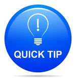 Quick tip blue button help and suggestion concept. Vector illustration of quick tip blue round button help and suggestion concept on white background Royalty Free Stock Images