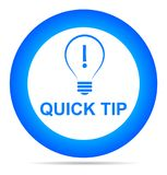 Quick tip blue button help and suggestion concept. Vector illustration of quick tip blue round button help and suggestion concept on white background Royalty Free Stock Image