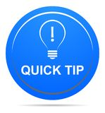 Quick tip blue button help and suggestion concept. Vector illustration of quick tip blue round button help and suggestion concept on white background Stock Photo