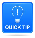 Quick tip blue button help and suggestion concept. Vector illustration of quick tip blue square button help and suggestion concept on white background Stock Images