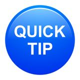 Quick tip blue round button help and suggestion concept. Vector illustration of quick tip blue round button help and suggestion concept on white background Stock Photos