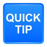 Quick tip blue square button help and suggestion concept. Vector illustration of quick tip blue square button help and suggestion concept on white background Stock Photo