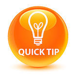 Quick tip (bulb icon) glassy orange round button Stock Images