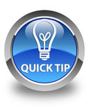 Quick tip (bulb icon) glossy blue round button Stock Photo