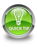 Quick tip (bulb icon) glossy green round button Stock Photos
