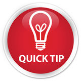 Quick tip (bulb icon) premium red round button Royalty Free Stock Photo