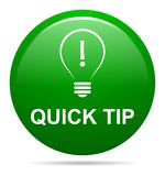 Quick tip green button help and suggestion concept. Vector illustration of tip green round button help and suggestion concept on white background Royalty Free Stock Photo