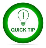 Quick tip green button help and suggestion concept. Vector illustration of tip green round button help and suggestion concept on white background Royalty Free Stock Photos
