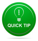 Quick tip green button help and suggestion concept. Vector illustration of tip green round button help and suggestion concept on white background Royalty Free Stock Photography
