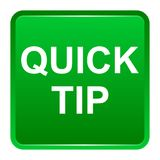 Quick tip green square button help and suggestion concept. Vector illustration of quick tip green square button help and suggestion concept on white background Stock Image
