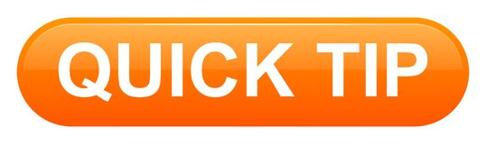 Quick tip orange button help and suggestion concept. Vector illustration of quick tip orange button help and suggestion concept on white background Royalty Free Stock Image