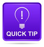 Quick tip purple button help and suggestion concept. Vector illustration of quick tip purple square button help and suggestion concept on white background royalty free illustration