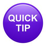 Quick tip purple round button help and suggestion concept. Vector illustration of quick tip purple round button help and suggestion concept on white background Stock Photos