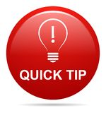Quick tip red button help and suggestion concept. Vector illustration of quick tip red round button help and suggestion concept on white background Stock Images