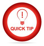 Quick tip red button help and suggestion concept. Vector illustration of quick tip red round button help and suggestion concept on white background Stock Photography