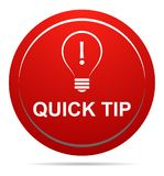 Quick tip red button help and suggestion concept. Vector illustration of quick tip red round button help and suggestion concept on white background Stock Image