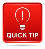 Quick tip red button help and suggestion concept. Vector illustration of quick tip red square button help and suggestion concept on white background Stock Images