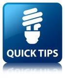 Quick tips (bulb icon) blue square button Stock Photos
