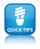 Quick tips (bulb icon) special cyan blue square button Royalty Free Stock Photography