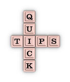 Quick Tips Crossword Puzzle. Quick Tips Crossword Puzzle  on white background. Learn 3D illustration Stock Photos