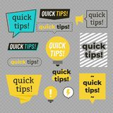 Quick tips, helpful tricks banners vector set. Quick tips, helpful tricks logos, emblems and banners vector set isolated on transparent background. Vector stock illustration