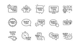 Quick tips line icons. Helpful tricks, Solution and Quickstart guide. Linear icon set. Vector. Quick tips line icons. Helpful tricks, Solution and Quickstart royalty free illustration