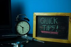 Quick Tips Planning on Background of Working Table with Office Supplies. royalty free stock photo
