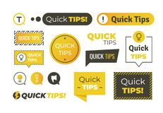 Quick tips shapes. Helpful tricks logos and banners, advices and suggestions emblems. Vector quick helpful tips. Set stock illustration