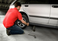 Quick Tire change Stock Image