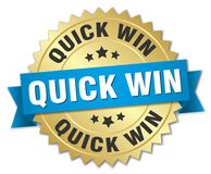 Quick win badge. Quick win round badge with ribbon Royalty Free Stock Photo