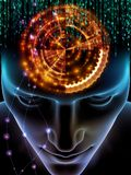 Quickening of Consciousness. Elements of Mind series. 3D illustration of human head and symbols of technology on the subject of  science, education and powers of Royalty Free Stock Photography
