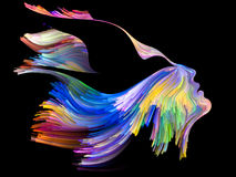 Quickening of Imagination. Bird of Mind series. Arrangement of woman and bird profile executed with colorful paint on the subject of creativity, imagination Royalty Free Stock Photos
