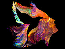 Quickening of Imagination. Bird of Mind series. Arrangement of woman and bird profile executed with colorful paint on the subject of creativity, imagination stock illustration