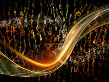 Quickening of Wave. Digital Stream series. Abstract design made of numbers, sine waves and lights on the subject of science, technology and education Royalty Free Stock Photos