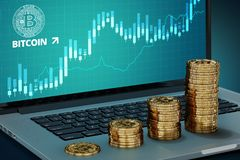 Quickly growing Bitcoin value concept - four growing Bitcoin piles against laptop Stock Photos