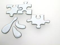 Quicksilver puzzle. Silver puzzle 3D Stock Image