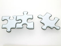 Quicksilver puzzle. Silver puzzle 3D Royalty Free Stock Photo