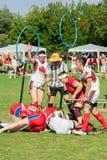 Quidditch-Spieler während eines Matches an IQA-Weltcup 2018 Stockbild