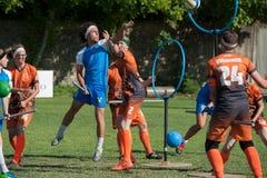 Quidditch-Spieler während eines Matches an IQA-Weltcup 2018 Lizenzfreies Stockbild