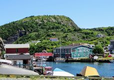 An interesting view of the small fishing village and local brewery of Quidi Vidi stock photo