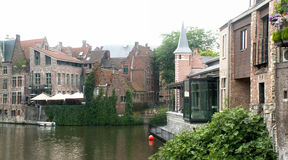 Quier corner of Gent. With historical brick buildings and canal, Belgium Royalty Free Stock Images