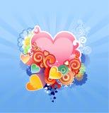 Quiera el corazón/la tarjeta del día de San Valentín o la boda/el vector Imagen de archivo libre de regalías