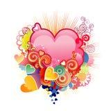 Quiera el corazón/la tarjeta del día de San Valentín o la boda/el vector Foto de archivo libre de regalías