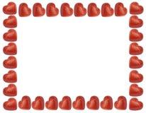Quiera el marco con los corazones rojos Fotos de archivo libres de regalías
