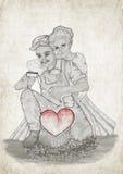 Quiero abrazarle mientras que usted está esculpiendo nuestro amor Foto de archivo