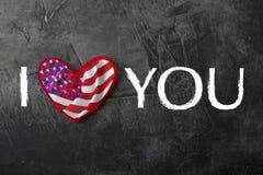 Quiero América Tarjeta, el día de la bandera de América Fotos de archivo libres de regalías